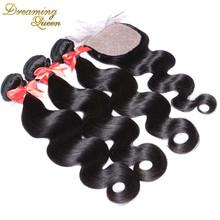 7A Peruvian Virgin Hair With Silk Closure Pervian Virgin Hair Body Wave  Silk Base closure and bundles,3 Bundles With Closure