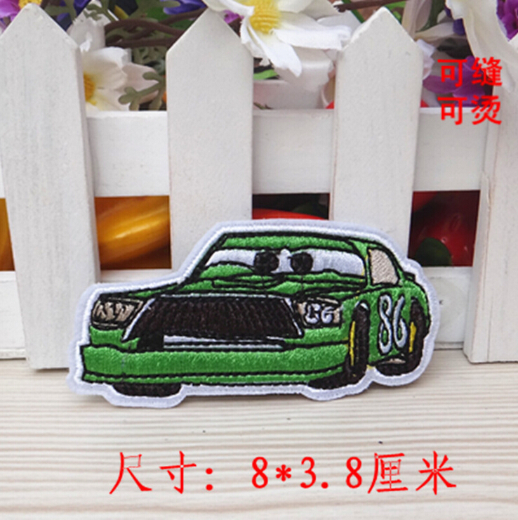 Green car Embroidery patch printed polyester ribbon , DIY handmade materials, wedding gift wrap(China (Mainland))