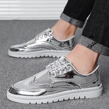 Mens סניקרס 2019 אופנה עור מפוצל נעלי גברים של נעליים יומיומיות עיצוב מבריק עור מוקסינים דירות זכר הנעלה זרוק חינם(China)