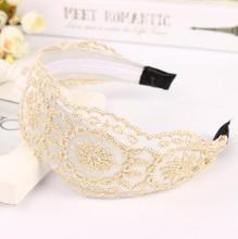 Fashion Korean Style Lace Flower Elastic Headband Hairband Hair Accessory For Women & Girls Hot Lovely Wedding Headwear(China (Mainland))