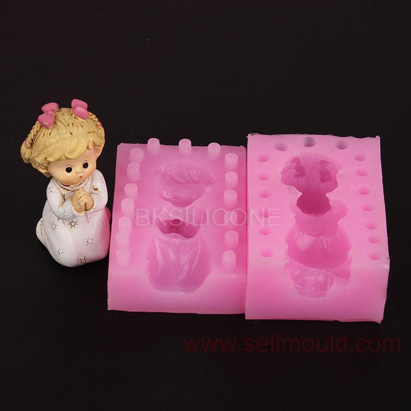 3d pray girl silicone moulds soap mold cake decorating tools candle resin molds WA006(China (Mainland))