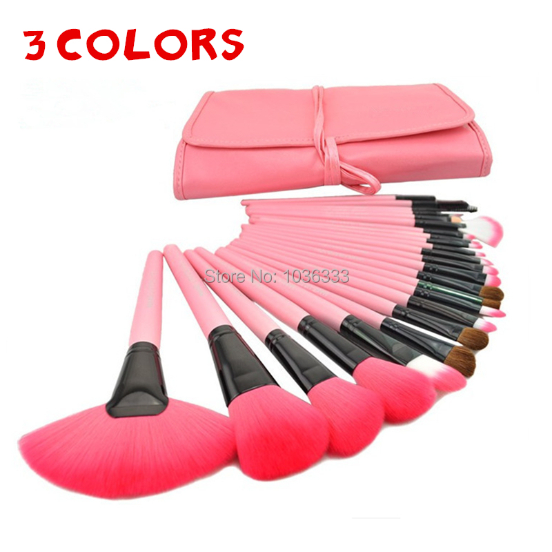 Professional 24PCS/Set Pink Makeup Brushes Makeup For You Brush Set Cosmetic Brushes Including a Deluxe Carrying Case!(China (Mainland))