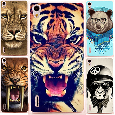 17 pattern colorful animals case huawei ascend p7 Case Cover / diy hard Colored Paiting case for huawei p7 ascend cover(China (Mainland))