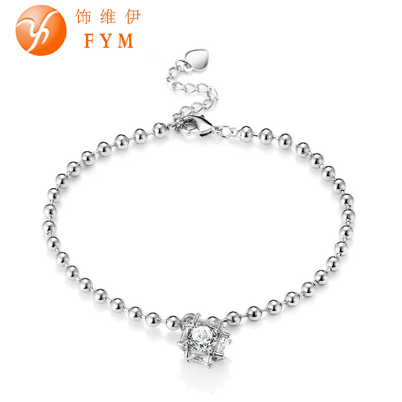 New Fashion Women's Zircon Ball Bracelet Silver Gold Plated Bead Chain Jewelry Hand Chain for Women Party Bracelet BR0055(China (Mainland))