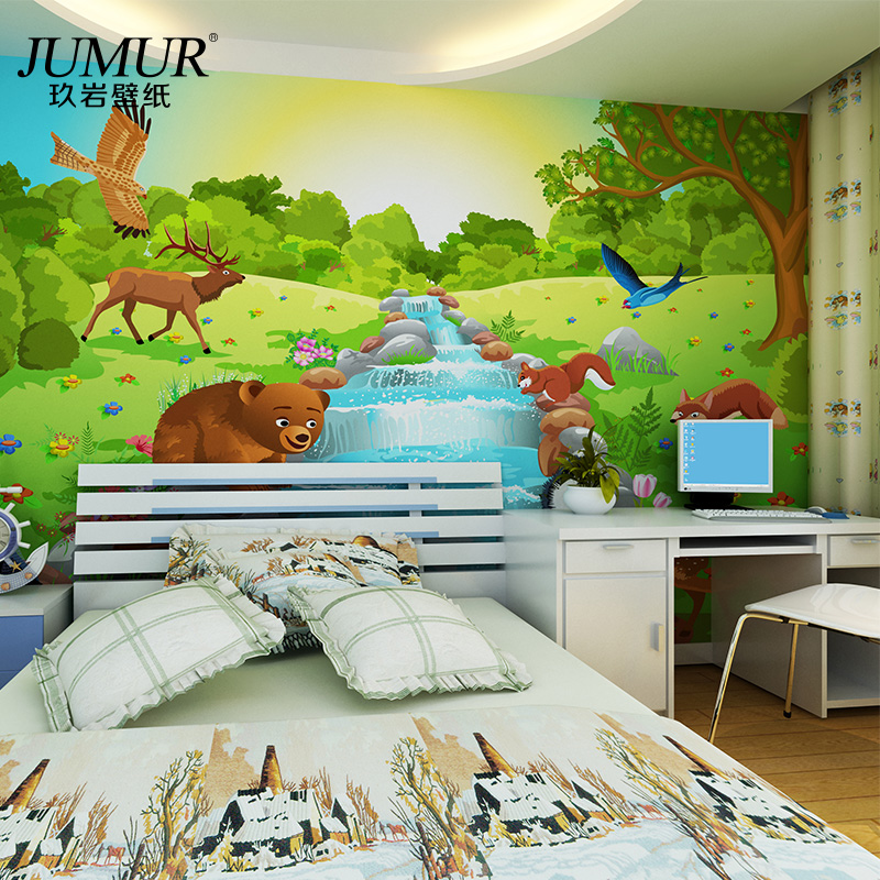 Mural Child real eco-friendly cartoon wallpaper tv living room background wall wallpaper seamless 3d mural jungle(China (Mainland))