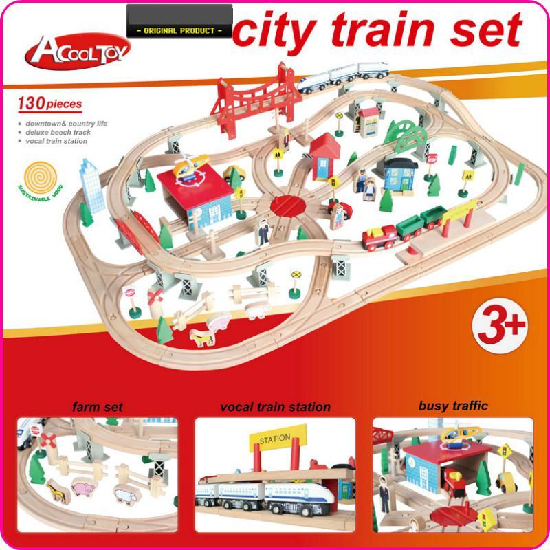 Diecasts Toy Vehicles Kids Toys Thomas train Toy Model Cars wooden puzzle Building slot track Rail transit Parking Garage 130pcs