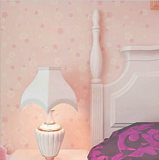 Pink wallpaper flower girl bedroom PVC wall covering self-adhesive mural paper - Ellen Homedecor store