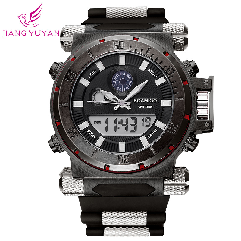 2016 new BOAMIGO brand mens sports watch dual movement multi-functional electronic watch silicone table<br><br>Aliexpress