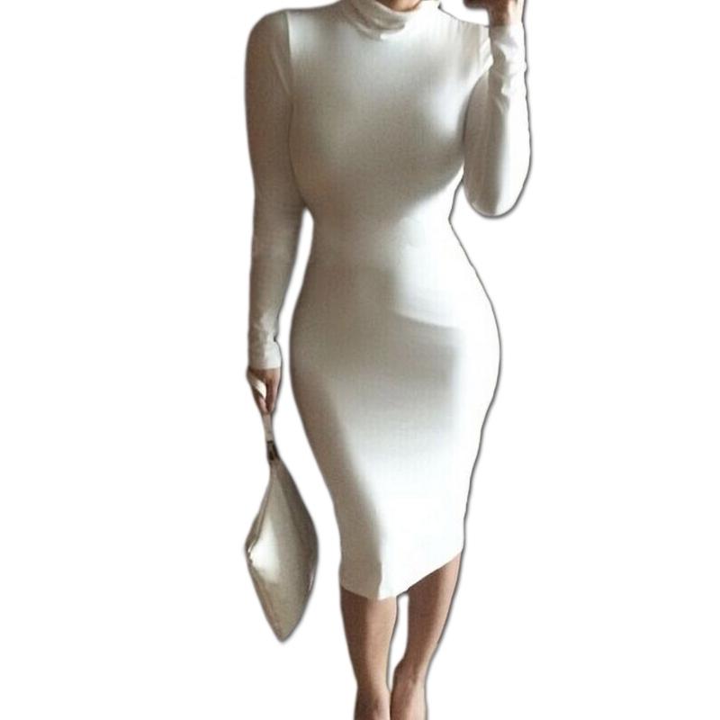 2015 Women Sexy White Dress Long Sleeve Turtleneck Black Long Maxi Spring Winter Dress Party Dress Work Wear Vestidos Casual(China (Mainland))