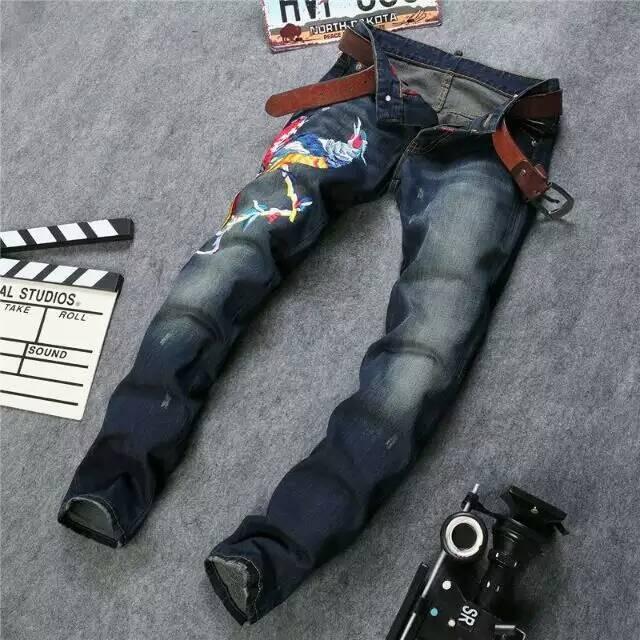 Скидки на Мужская одежда вышитые джинсы лоскутное орел крылья блестка украшения тонкий отверстие брюки узкие старинные хлопок брюк