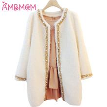 AMBMCM New Fashion 2017 Women Coat Winter Jackets Elegant Warm Women Woolen Pearl Coat Thicken Long Plus Size Women Long Blend 2(China (Mainland))