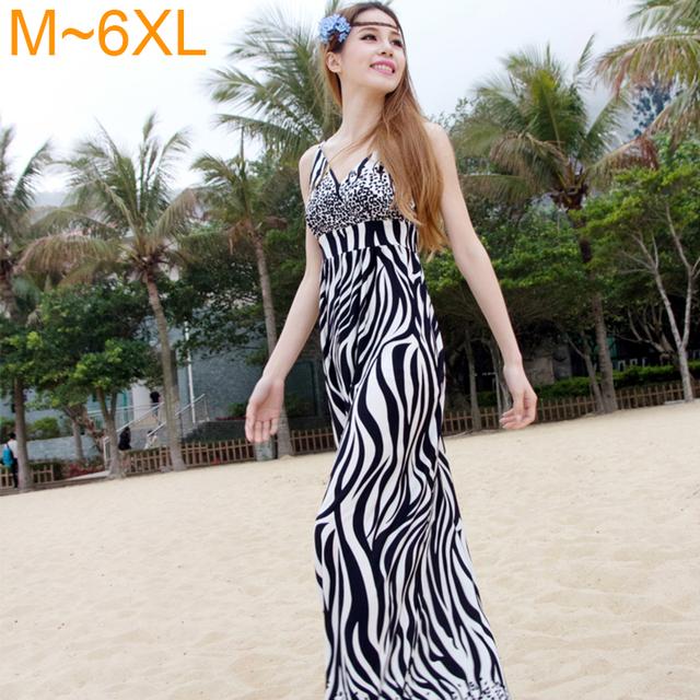 Лето Полная Длина Платья 2016 Zebra Для Печати Sexy Глубокий V-образным Вырезом макси Длинное Платье Плюс Размер Пляж Полосатый Элегантное Платье для женщины