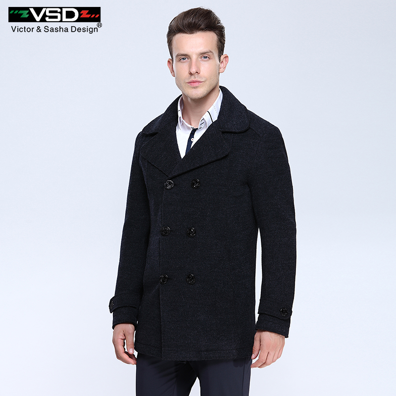 wool blends Suit design wool coat Men's Casual Trench Coat Design Slim Fit double Breasted Office Suit Jackets Coat for Men(China (Mainland))