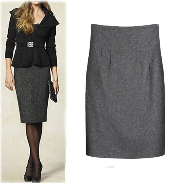 2015 autumn winter wool blends warm pencil skirt