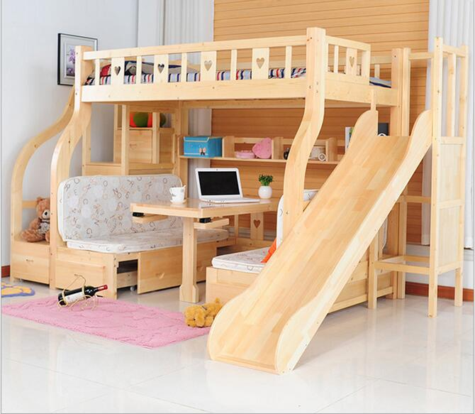 Multi function environmental children bunk bed with study Kids loft bed with desk