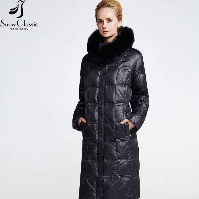 Snowclassic женская Зимняя Куртка 2016 Плюс Размер 6xl Куртки Настоящее Фокс Меховым Воротником Зимняя Куртка Женщин 12316
