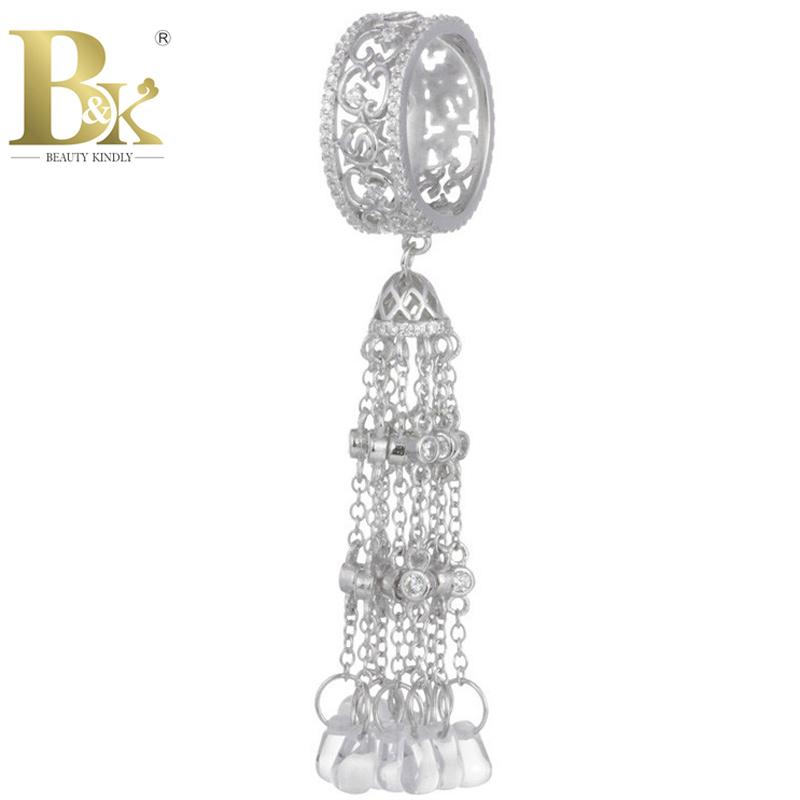 925 Sterling Silver Tassel Rings For Woman European Fashion White Drop Tassel Ring 2015 Luxury Wedding Rings Fine Jewelry Custom(China (Mainland))