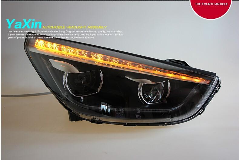 Auto Clud For hyundai ix35 headlights 2010-2013 For hyundai ix35 car styling LED light bar DRL+ HID kit +Q5 bi xenon lens parkin