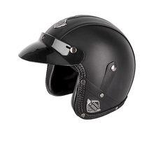 Cascos de cuero PU 3/4, casco de moto Chopper, casco de moto con cara abierta, casco de motocicleta vintage con máscara de gafas(China)