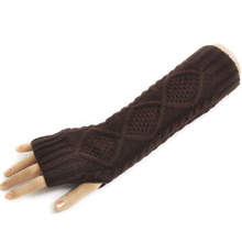 1 Pair New Multi-color Winter Warm Women Lady Gloves Arm Warmer Long Fingerless Knitted Mitten (China (Mainland))