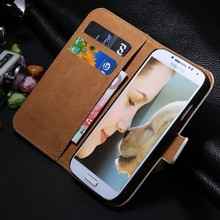 Luxury Retro Real Genuine Leather Wallet Case for Samsung Galaxy SIV Mini i9190 Stand Flip Phone Accessories Cover for S4 Mini(China (Mainland))