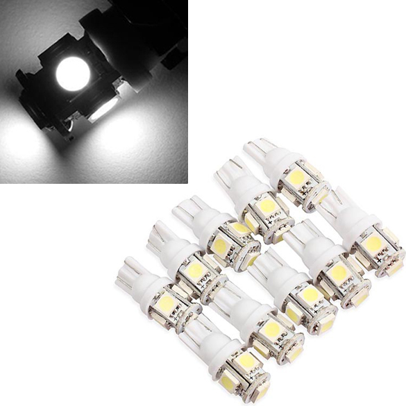10PCS T10 5050 5SMD LED White Light Car Side Wedge Tail Light Lamp Bright HB88