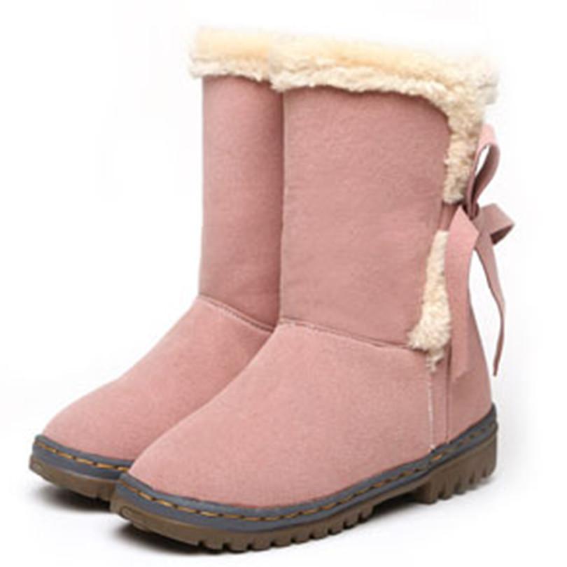 ENMAYER skidproof round toe solid bowtie snow boots 3 colors warm plush winter boots black pink beige platform women boots