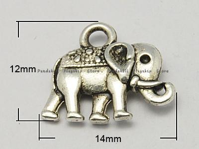 100pcs/lot 12x14x2.5mm Vintage Elephant Charms DIY jewelry pendants fashion Antique metal elephant charms silver suppliers(China (Mainland))