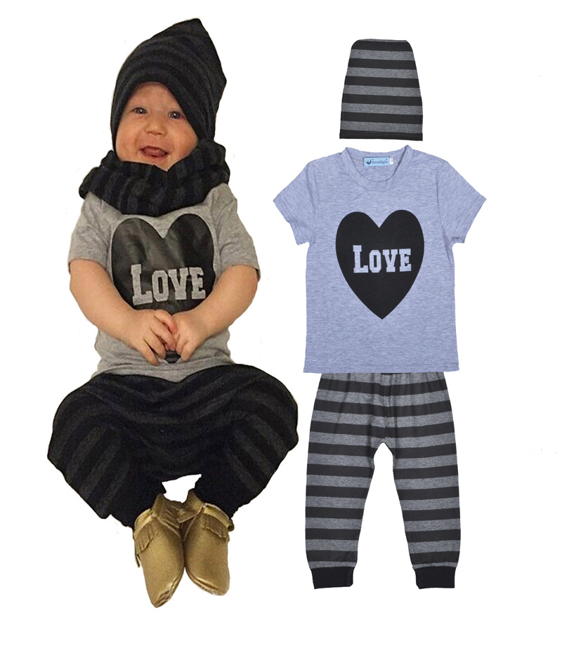 2016 Summer baby boy clothes set fashion Heart Pattern short-sleeved letter T-shirt +Stripe pants +hat baby girl clothing sets(China (Mainland))