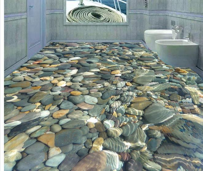 Custom photo floor wallpaper 3d stereoscopic 3d floor for Bathroom floor mural