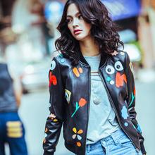 Autumn New Outerwear Women's Genuine Leather Jackets Sheepskin/Flower Printed/Baseball Look LW9008(China (Mainland))