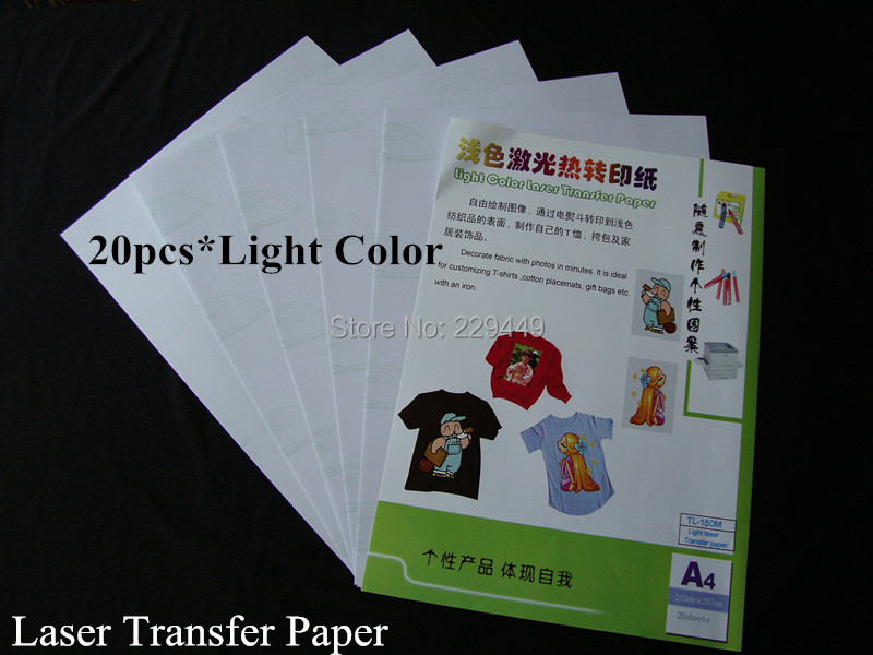 Free shipping A4*20pcs Light Color Laser Heat Transfer Printing Paper With Heat Press For t-shirt Heat Transfers For Clothes(China (Mainland))