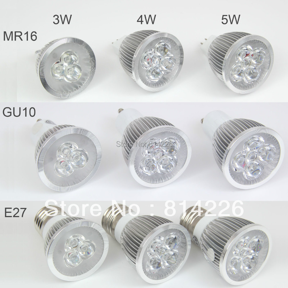 10 pcs 3w 4w 5w e27 mr16 gu10 led spot lights downlight bulbs lamps ac85 265v 110v 220v 12v Mr16 bulb