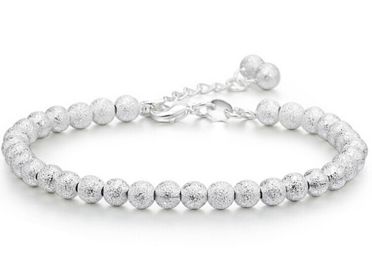 925-BG03 Trend Accessories 925 Pure Silver Bracelet 5MM Beads Ball Chain Women Factory Price Gifts - Greatbuy21 (Min order 10USD store)