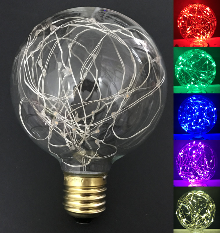 Led lamp Vintage Design Fairy E27 LED Bulb G95 85V-265V 6 Colors RGB String Firework Filament Christmas holiday home Decor(China (Mainland))