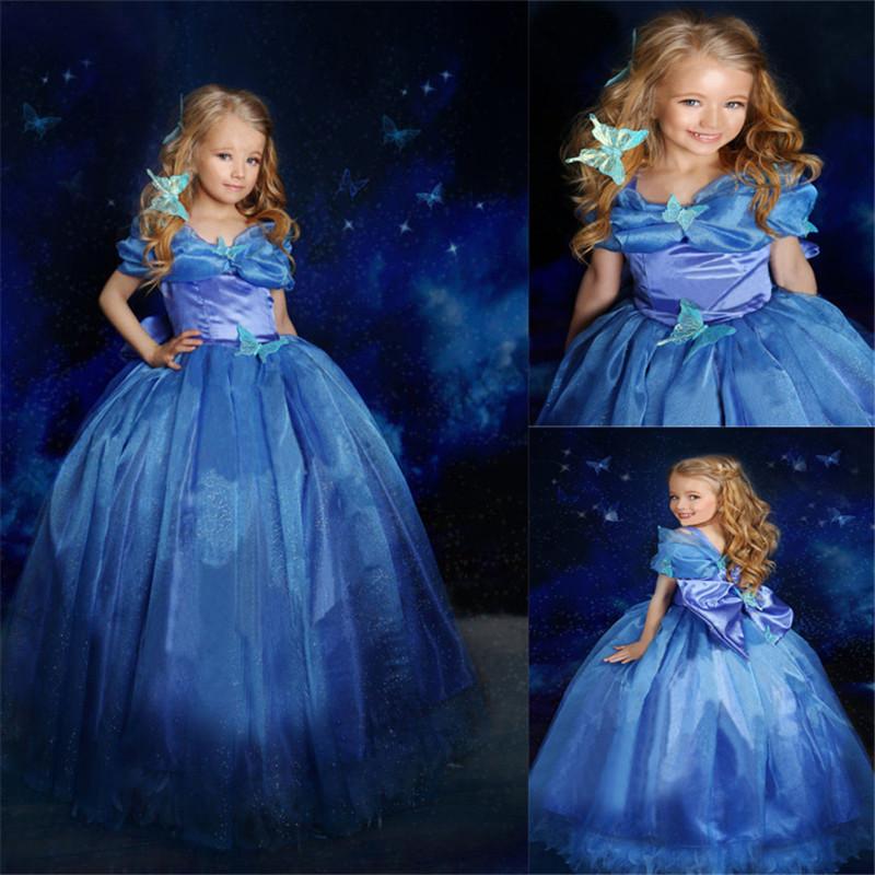 Halloween Fairy Tale Princess Dress Girls Cinderella Dress Costumes Fantasia Carnival Girls Party Summer Dress(China (Mainland))