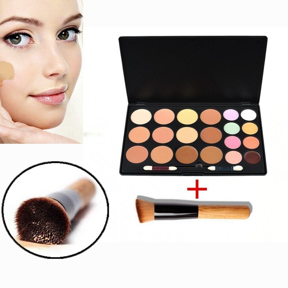 Base Makeup 20 Concealer Palette Foundation Cream Plate Eye Trimming Brighten Skin Color With Flat Top Angled Contour Brush(China (Mainland))