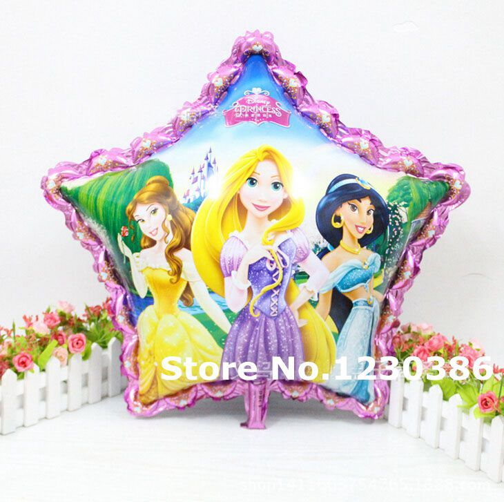 Five Star Three Princess Balloon Aluminum Foil Balloons Party Decoration Toy(China (Mainland))