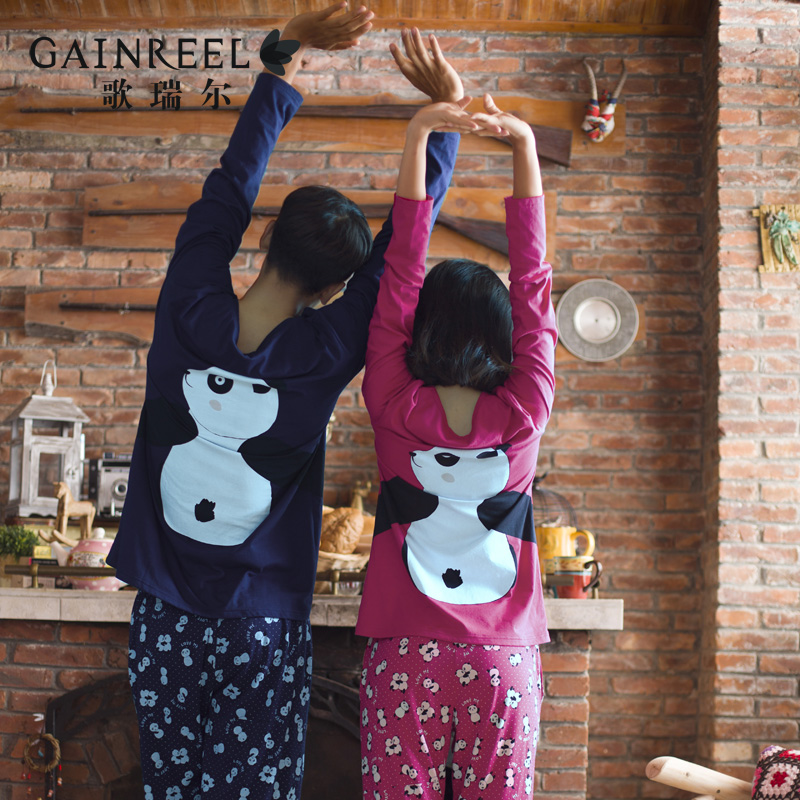 Song Riel angel happy men and women long sleeved cotton pajamas cartoon panda couple home service