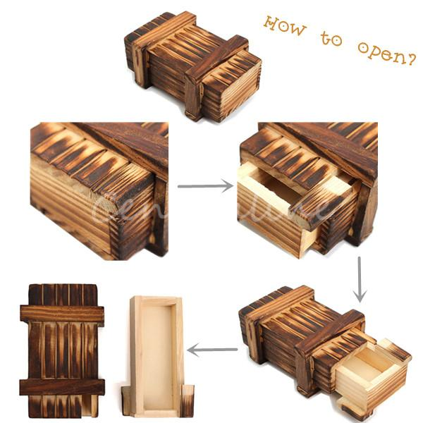 New Arrival Kid Funny Vintage Wooden Magic Box Secret Puzzle Drawer Size L Brain Teaser Toy Magic Trick Wooden Puzzle Box Toys(China (Mainland))