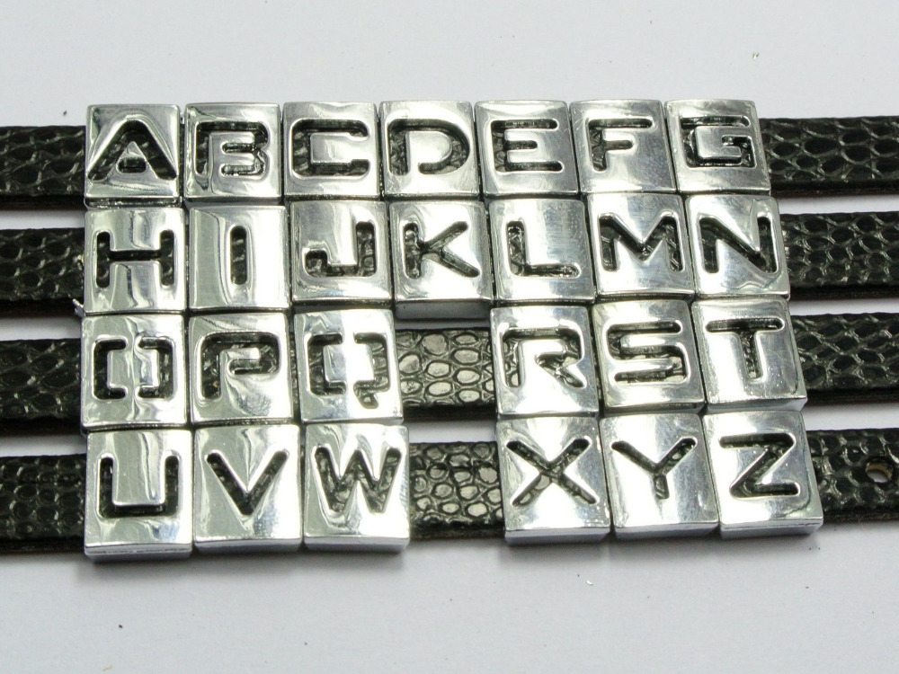 """20 Assorted Alloy Carved Alphabet Letter """"S-Z"""" Slide Beads Charm Fit 8mm Wristbands(China (Mainland))"""