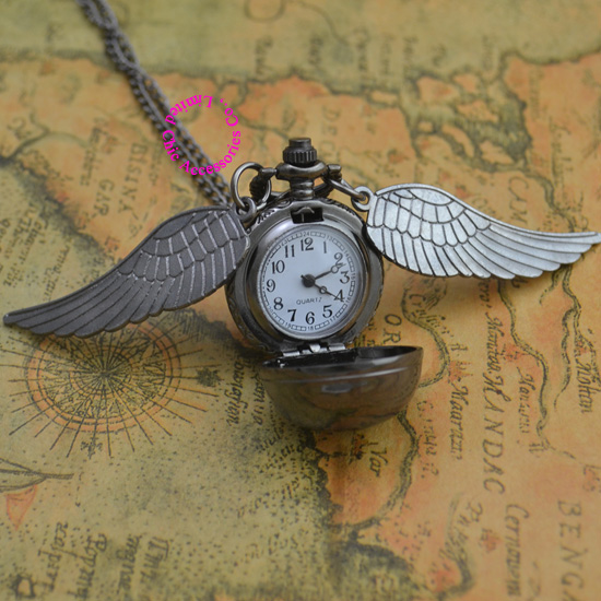 hot fashion popular retro antique black wing gold snitch quartz ball pocket watch necklace women hour