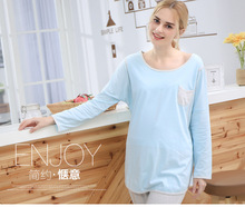 Cotton feeding pajamas long sleeved pregnant women's home service package can be worn outside the loose coat+tight pantsM&B1059