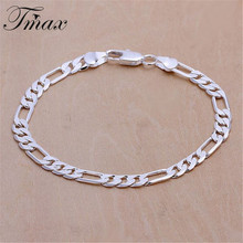 6M Flat Three Hand – Men Figaro Foreign Geometric Silver Plated Bracelet Fashion Jewelry Accessories Wholesale Copper HFNE0687