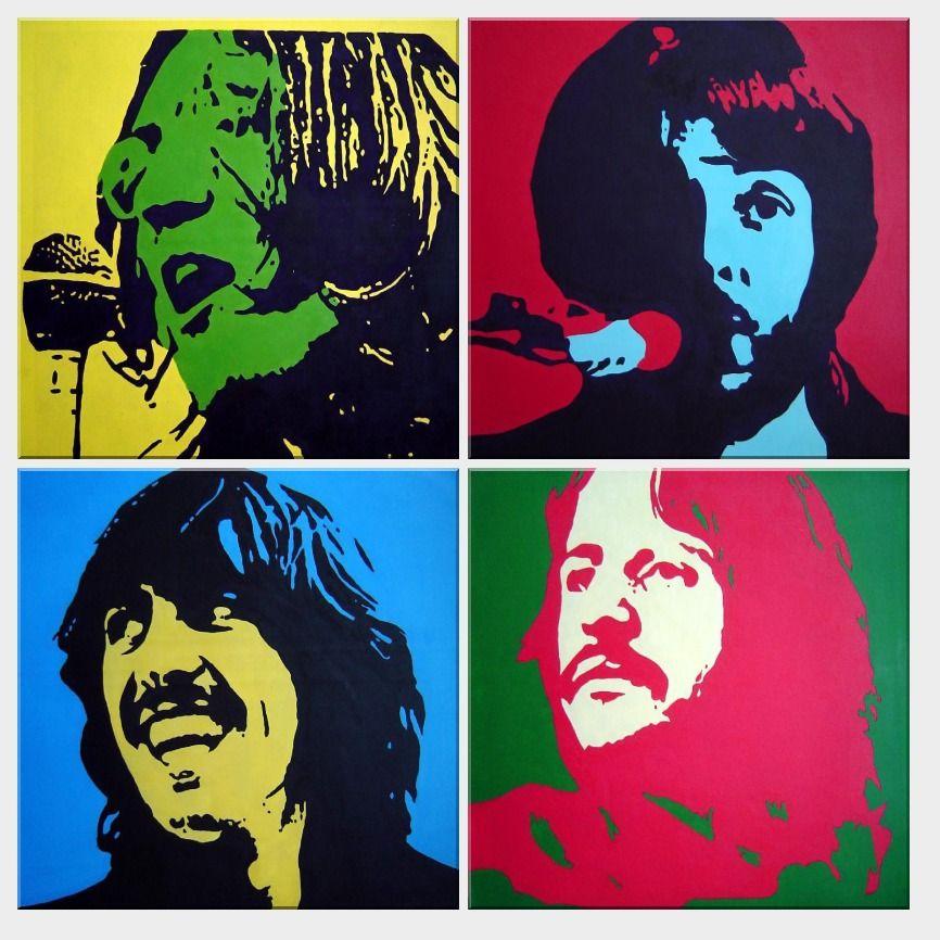 비틀즈-세트-유화-캔버스-팝-아트-초상화-유명-침실-거실-벽-장식 ...