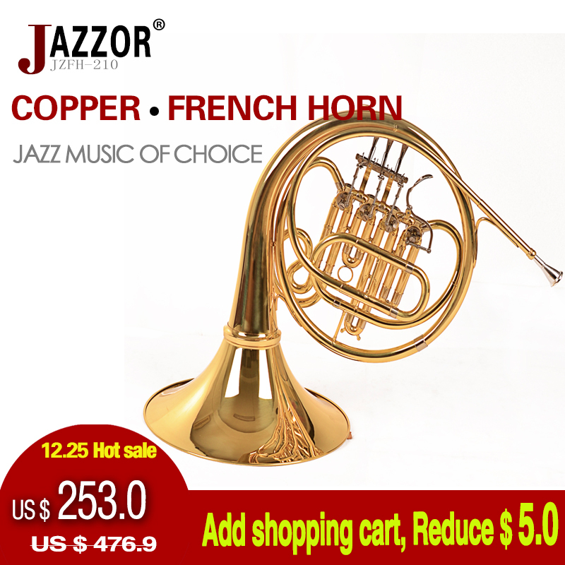 NEW French Horn 4 key JAZZOR Professional Horn Single-Row Split JZFH-210 B flat Wind Instruments French Horns, Free Shipping(China (Mainland))