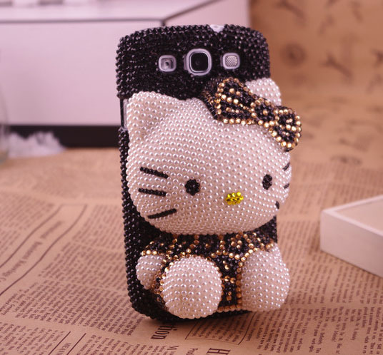 sitting hello kitty bling pearls and crystal black case for SamSung Galaxy SIII  s3 I9300 or s4 i9500 [JCZL DIY Shop]