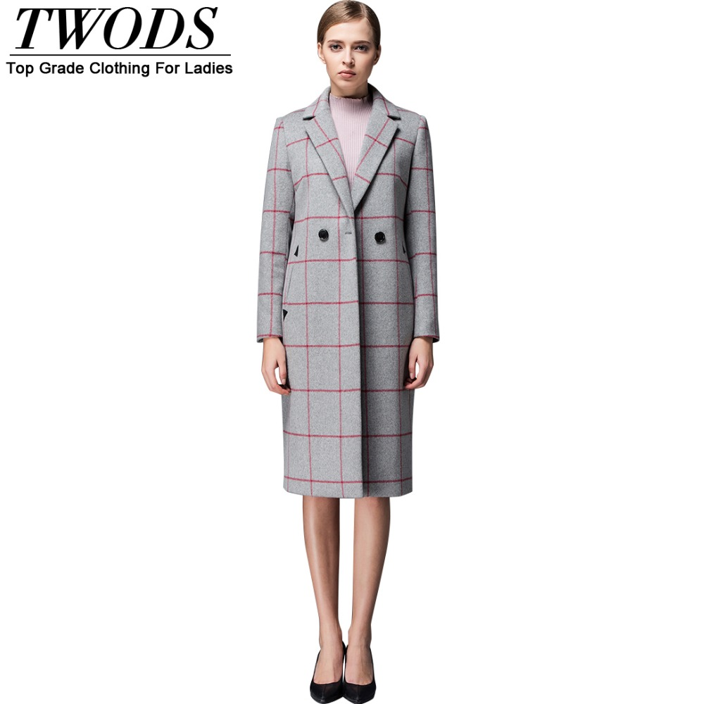 Twods S- 4XL New Fashion Women Grey Wool Coat European Style Notched Long Jacket  Plaid Overcoat Manteau Hiver Femme AbrigosОдежда и ак�е��уары<br><br><br>Aliexpress
