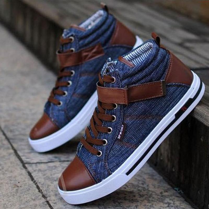 Men Denim Casual Shoes 2016 British Autumn Winter Men Lace