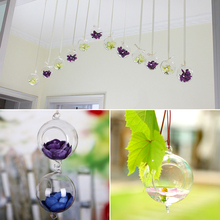 Creative Hydroponics Hanging Stand Glass Flower Vase With Hook Candle Holder Terrarium Home Decoration(China (Mainland))